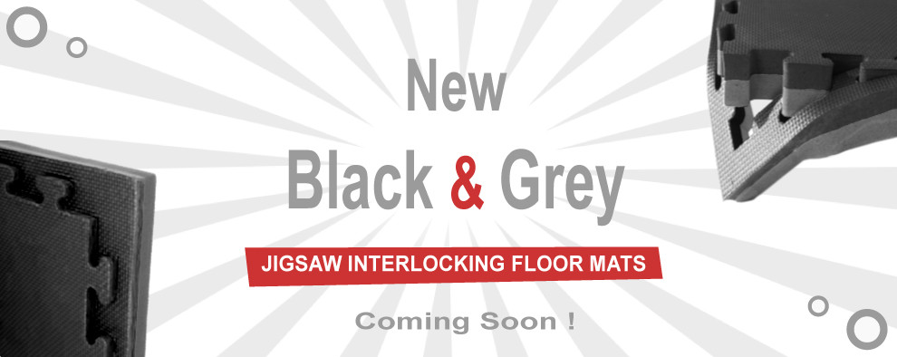 black / grey interlocking martial arts jigsaw mats