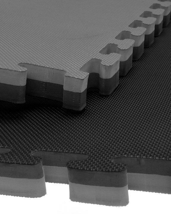 black and grey jigsaw mats