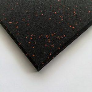 Black Rubber Gym Mat Red Speckles