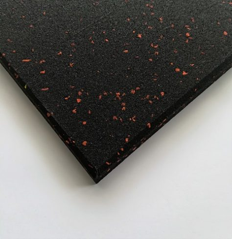 Black Rubber Gym Mat Red Speckles