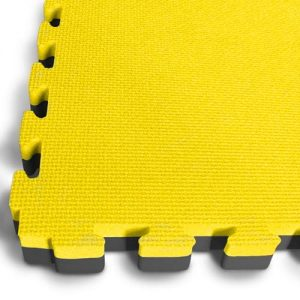 yellow-black puzzle mats